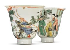 A Rare Pair Of Famille-Verte 'Romance of the Western Chamber' Cups, Kangxi Marks and Period Chinese China, Chinese Art, Oriental, Historical Artifacts, Chinese Ceramics, Fine Porcelain, Painted Porcelain, Chinese Antiques, Ceramic Vase