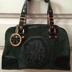Authentic Tory Burch bag Forest/emerald green suede and faux alligator tory burch handbag used with some natural wear but still lots of life left!! Tory Burch Bags Totes