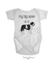 St Bernand Baby Clothes, Dog Baby Clothes, Dog and Baby, Dog Pregnancy Reveal, Big Sister Saint Bernand, Big Sister Dog, St Bernard Shirt