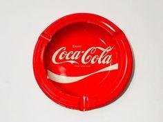 Vintage Advertising Coca Cola Red and White Tin Litho Ashtray #CocaCola