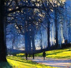 Andrew Gifford Green Park, blue haze. A slight shift in perspective, and the whole vision of a park changes into pure summer magic.