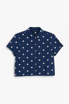Denim short sleeve crop top