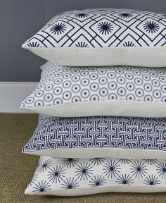 French Navy Linen Cushions from Jane Hornsby
