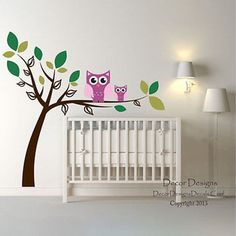 Double Owl Tree Vinyl Wall Decal Stickers