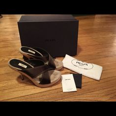 Prada women's brown stiletto heels - size 38 1/2 Prada women's brown stiletto heels. Wooden bottom, brown silk top. Metal stiletto. Used but in great shape. Comes with Prada box (for different pair as the original box is missing). Has tags, bag, extra tips. Prada Shoes Heels