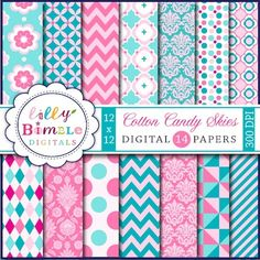 Cotton Candy Skies pink and turquoise digital scrapbook papers