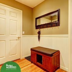 Adding a shoe bench in the entry way is a great way to create more storage and keep your shoes, as well as your entryway, organized.