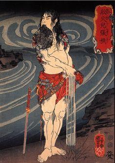 Utagawa Kuniyoshi - Senkaji Chao Wringing Out His Loincloth 1832