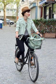 bike fashion in mint - from Helloitsvalentine, parisienne blogger