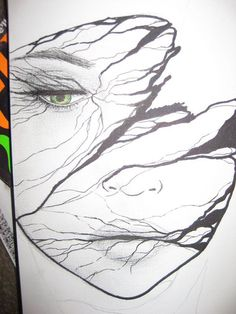 "http://geocide.deviantart.com Goddamned genius,right here.I call this one ""Green-Eyed VeryClose"",because of her piercing eye shown,as well as the varicosity(?) of the story and trails the slashing lines tell...Beautiful and telling,as all great art is..DIG IT!!"