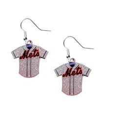 New York Mets Women's Glitter Jersey Dangle Earings