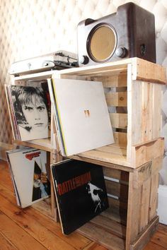 Vinyl record LP reclaimed rustic wooden pallet handmade storage box crate stack