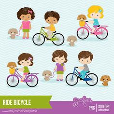 RIDE BICYCLE Digital Clipart  Bicycle Clipart  Bike by grafos, $5.00
