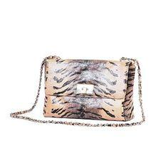 Designer Tan and Black Zebra-Print Leather Shoulder Bag with Leather-Wrapped Chain Strap  www.icarryalls.com