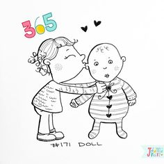 Doodle 171/365: Doll #365doodleswithjohannafritz  When we visited my parents the little one discovered my old doll. Which is actually almost as tall as she is  She sort of fell in love with her and carried her everywhere with her  by byjohannafritz