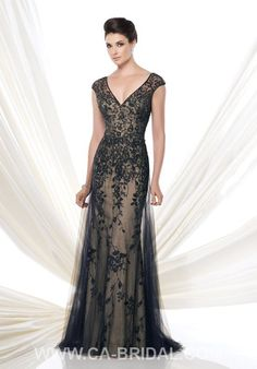 $189.99 Exquisite A-Line V-neck Cap Sleeves Beaded and Applique Floor-length Tulle Mother of Bride Dress MD2015-00464 - ca-bridals.com
