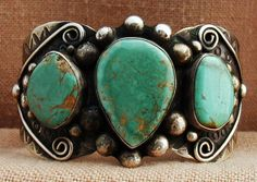 Vintage Cuff | Albert Cleveland (Navajo).  Sterling silver and Nevada turquoise.