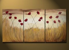 Original LARGE Floral Paintings, Red Floral Abstract Painting, Modern Contemporary Landscape Garden Flowers Red Gold 48x24 Heavy textured