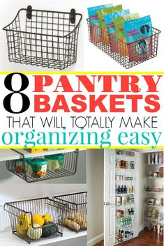 Pantry ideas, get your pantry organized! Food would topple over and get lost and outdated before I started using pantry organization baskets. They are life changing! See the best ones that work. #pantry