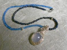 Wire Wrap Blue Chalcedony and Blue Faceted Topaz Necklace, Sterling Silver, Blue Pyrite, 20 Inches, Blynn Pippen, W001B-20  Cyber Sale! 15% Off wholesale prices, with a minimum purchase of two (2) pieces. click here for you coupon code:  https://www.etsy.com/shop/BlynnPippenGallery?coupon=WHITETHURSDAY17