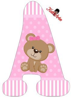 Alfabeto de tierna osita con fondo rosa. | Oh my Alfabetos! Clipart Baby, Cute Clipart, Letras Baby Shower, Baby Annabell, Teddy Bear Party, Baby Shawer, Foto Baby, Alphabet And Numbers, Baby Cards