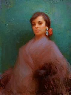 """Marina"" Spanish dancer from Seville, Susan Lyon  oil 18 by 14"