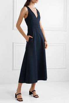Navy and cream crepe Concealed zip fastening along side viscose, polyamide, elastane Dry clean Day Dresses, Dress Outfits, Leigh Miller, Bardot Dress, Collection Services, Menswear, Celebrities, Womens Fashion, How To Wear