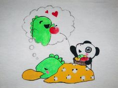 One-of-a-kind hand-painted Dino & Panda t-shirt from my series of 100 T-shirts back in 2012.   Panda makes sure Dino has sweet dreams.  Size: Small