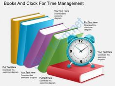 eg Books And Clock For Time Management Powerpoint Template