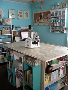 Craft storage under the work surface.makes good use of the room available. Sewing Spaces, Sewing Rooms, Craft Room Storage, Craft Organization, Craft Rooms, Organizing Ideas, Storage Ideas, Space Crafts, Home Crafts