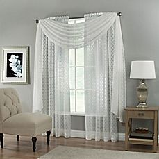 Creston Rod Pocket Sheer Window Curtain Panel and Scarf Valance