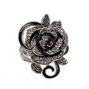 Fashion Rose Black Flower Rhinestone Ring