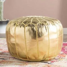 Moroccan leather Gold pouf ottoman leather ottomanA little aboutOur Moroccan Leather Authentic round  POUF ottoman free shipping #pouf#leatherpouf#moroccanpouf#squarepouf#ottomanpouf#poufottoman#livingroom#homedecor#footstool#furniture Moroccan Pouffe, Moroccan Leather Pouf, Leather Pouf Ottoman, Tufted Storage Ottoman, Diy Ottoman, Pouf Chair, Pouf Footstool, Poufs