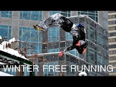 Parkour is pretty amazing as is, but when you add snow and ice skates?  Woah.