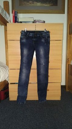32f3ae56676 Simply Chick Jeans Women s Size 12. Dark Wash Factory Distressed Ripped  Skinny