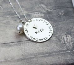 Hand stamped #wifenecklace, jewelry for wives, wife necklace, soulmate, lover, best friend, marriage, gift for wife by InspiredByBronx on Etsy https://www.etsy.com/listing/454843264/hand-stamped-wife-necklace-jewelry-for