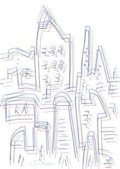 "Saatchi Art Artist Eustaquio Carrasco; Drawing, ""Some buildings in the city"" #art"