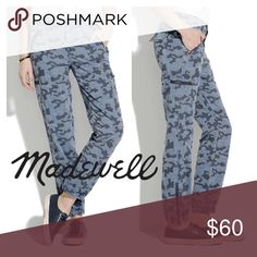 "Listing! Madewell zip cargos in blue camo Madewell zip cargos in blue camo. Size 29. In mint condition. Item # a4964 Color most accurate in the stock photos.  A flattering relaxed fit. Cool exposed zips. An extra-special textured jacquard camo. Definitely not your average cargo pants.   Easy, relaxed fit. Inseam: 27"". 100% cotton. Machine wash. Madewell Pants Track Pants & Joggers"