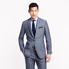 J.Crew - Ludlow suit jacket with double vent in Japanese chambray
