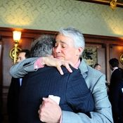 Following the Military Voices launch event, NPR Weekend Edition Saturday host Scott Simon hugs Gordon Bolar, General Manager of NPR Member Station WMUK in Kalamazoo, Michigan. In 2007, Bolar's son Matthew was killed by a roadside bomb in Iraq. Read Scott Simon's remarks on StoryCorps' Military Voices Initiative!