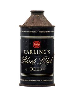 Carling's Black Label vintage beer can. What a curious shape.