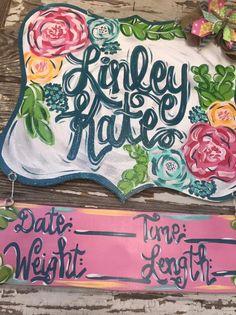 Hospital Door Hanger - Nursery Decor - Baby Girl Door Hanger - Personalized Baby Gift - Baby Bedding - Personalized Door Hanger - present Letter Door Hangers, Baby Door Hangers, Hospital Door Hangers, Wooden Door Hangers, Advent, Door Hanger Template, Baby Girl Nursery Decor, Personalized Baby Gifts, Painted Doors