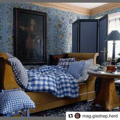 """403 Likes, 13 Comments - Sibyl Colefax & John Fowler (@sibylcolefax) on Instagram: """"#Repost @mag.gieshep.herd @theworldofinteriors ・・・ @botanicaetcetera Blue No.3. A room with a bed…"""""""
