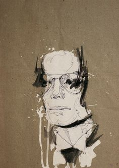 Michael Jackson, male portrait, by Florian Nicolle, mixed media, watercolor, newsprint and cardboard.