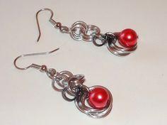 Dangle Salmon Bead #Chainmaille #Earrings by chrysalisjewelrytx, $13.50