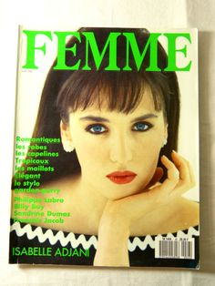 FEMME womens fashion magazine - June 1987 romantic summer style & Isabelle Adjani issue - French 80s vintage French high fashion magazine including editorials & ads published in June 1987 by Filipacchi / COGEDIPRESSE editions, written in French the second picture is of the back page, circa 138 pages, the magazine is complete light traces of use on the covers good condition  length circa 30 cm (= 11.8 inches) width circa 23 cm (= 9.1 inches)  more photos on request   PL...