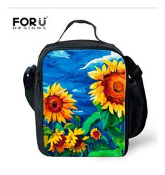 C0153G 3D Colorful Flower Lunch Bags For Women Pink Rose Food Meal Package Lady Thermal Lunchbox For Kids Girls Outdoor Picnic