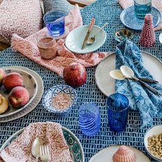 Fez Guava cotton napkins (set of 4) | Hand-printed linen cushions, wallpaper and homewares Cotton Napkins, Napkins Set, Printed Linen, Moorish, Amalfi, Serving Bowls, Floral Prints, Delicate