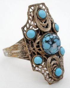 Vintage Nemco Turquoise Ring Silver Handmade Blue Gemstones Size 8 Adjustable | Jewelry & Watches, Vintage & Antique Jewelry, Costume | eBay!