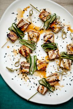 sweet & spicy marinated tofu skewers